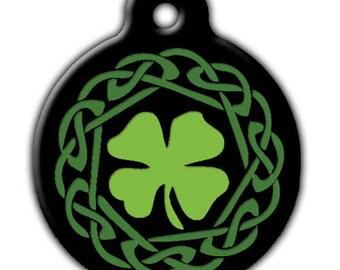 Green Irish Clover Dog ID Tag