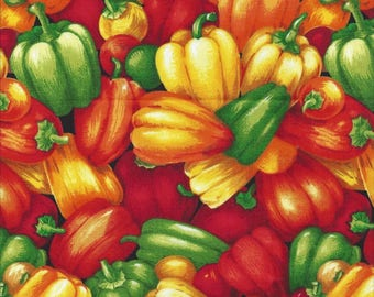 Beautiful Colorful Fabric with Peppers by Paintbrush Studios 1 yard 12 inches   Last of the Bolt!