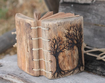 Wedding Guest Book rustic wood journal with two trees of life wooden guestbook bridal shower engagement anniversary