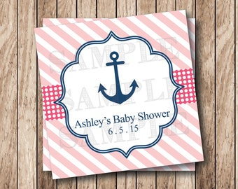 Personalized Printable Baby Shower Shower Tags, Printable Anchor Tags, Baby Girl Shower Tags, Nautical Baby Shower Labels, Girl Anchor Tags