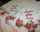 for mbspencer/ mother of bride /   coral hanky, vintage handkerchief, wedding handkerchief, hand embroidery, gift for parent, mom gift