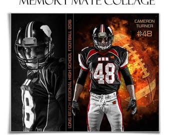 50% Off - SPORTS Memory Mates - BACKDRAFT FOOTBALL - (2)  8x10 Digital Photoshop Templates (Hz & Vt) for Sports Photographers.