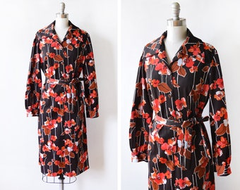 70s floral dress, vintage 1970s dress, autumn floral button up long sleeve boho dress