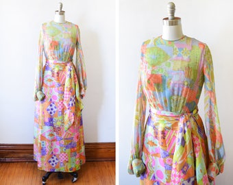 60s silk chiffon maxi dress, vintage 1960s dress, hand painted floral patchwork psychedelic gown with scarf, extra small xs