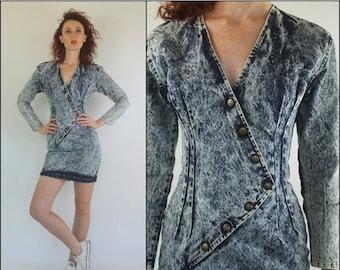 SUMMER SALE Vintage 80's Denim Acid wash Bandage Fitted New wave Bodycon Mini dress XS S