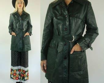 Vintage 70s Leather Green Belted Boho Preppy Jacket S M