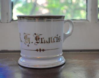 Antique White Limoges Porcelain Shaving Mug/Vintage c. 1910/Personalized R.H. Francis Monogram/Victorian Edwardian Shaving Mug