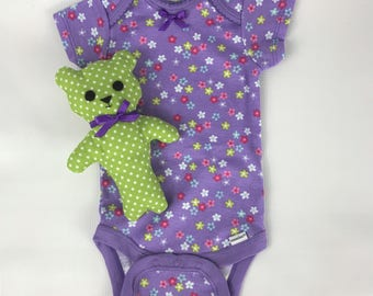 Teddy Bear, Stuffed Bear, Limegreen, polka dot, baby onesie, 3-6 month, baby bear, baby toy, crib toy, baby shower gift set