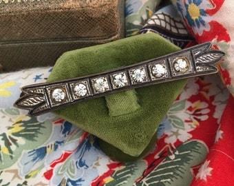 Victorian Paste brooch antique engraved + enamel bar pin 1900s edwardian