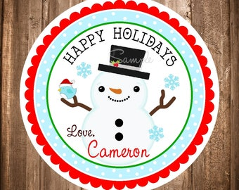 Snowman Christmas Stickers, Happy Holiday Labels,Christmas Favor Tags, Personalized Christmas Stickers,Printable Snowman Gift Tags,YOU PRINT