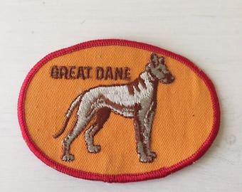 1980s Great Dane Dog Breed Fabric Patch