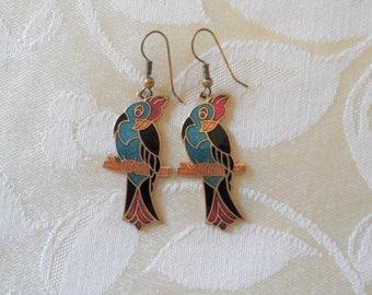 Vintage Cloisonne Parrot Dangle Earrings