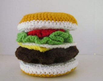 Cheeseburger, Play Food, Amigurumi, Crochet Play Food, Nursery School, Day Care, Pretend Play, Crochet Cheeseburger, ImaginationToy, Food