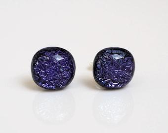 Purple Stud Earrings - Fused Glass Stud Earrings - Purple Studs - Purple Fused Glass Studs - Dichroic Glass Studs - Glass Stud - ES 627