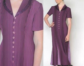 aubergine -- vintage 80's mixed stripes long dress size S/M