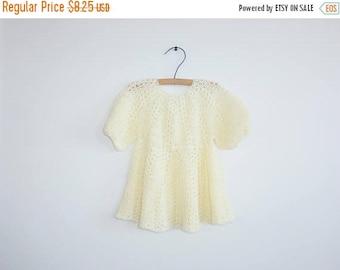SALE // Vintage Yellow Knit Baby Dress