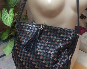 Vintage black brown green woven leather shoulder bag, Umberto Florence multi color woven leather pouch shoulder handbag, basketweave bag