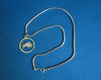 Vintage 1960s Sterling Silver Necklace with Taurus Bull Pendant New Old Store Stock