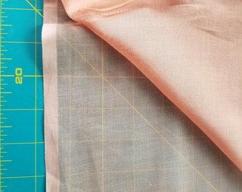Vintage Sheer Cotton Voille type just over 1yd Adobe Orange Terra Cotta