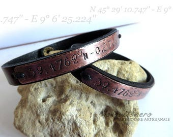 Geographic coordinates bracelets, couple bracelets, GPS bracelet, engraving bracelet, couple gift, for him, for her,