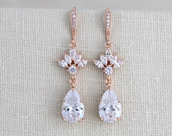 Rose gold earrings, Bridesmaid earrings, Bridal jewelry, CZ earrings, Wedding earrings, Crystal earrings, Swarovski, Wedding jewelry, EMMA