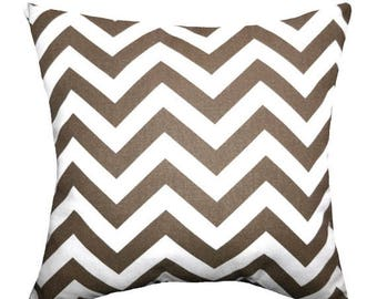 Chevron Pillow, Brown Throe Pillow, Zig Zag Drew Italian Brown STUFFED Decorative Pillow, Brown and White Cushion, 16x16 Accent Pillow