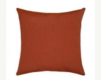 Brick Red Orange Pillow, Sunbrella Canvas Brick Outdoor Pillow, Solid Brick Decorative Pillow, Sunbrella Outdoor Pillow, Free shipping