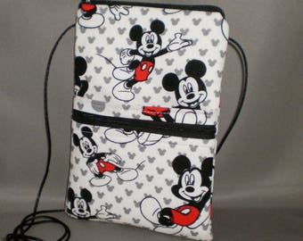 Mickey Mouse Smart Phone Purse - Passport Purse - Sling Bag - Hipster - Wallet on a String -