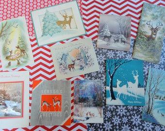 Deer in Christmas Glory in Vintage Christmas Lot No 1110 Total of 10 Die Cut Embellished Forest Scenes