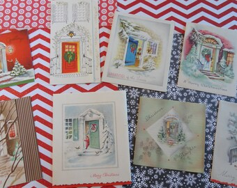 Holiday Door is Open for Guests in Vintage Christmas Card Lot No 1114 Winter Welcome at the Door Total of 8