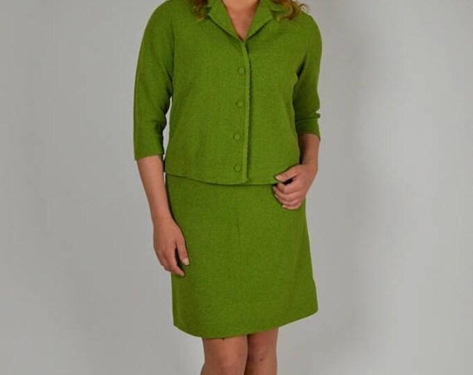 sale Vintage Suit, 50s Suit, Green Suit, Knit Suit, Spring Suit, Summer Suit, 1950s Suit, Women's Suit, Office Suit, Professional Suit, Size