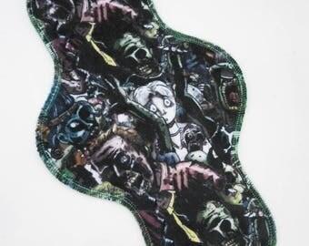 """11.5"""" Heavy Cloth Pad, Minky Cloth Menstrual Pad, Zombies Minky, Windpro Fleece MotherMoonPads Overnight Pad, Incontinence Pad"""