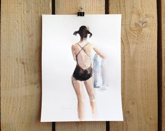 original watercolor painting - back of woman standing wearing a swimming costume