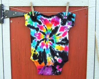 12m Tie Dye Baby Onesie - Cosmic Rainbow Swirl - Ready to Ship