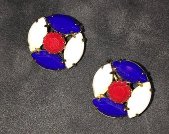 Vintage Clip On Earrings Red White and Blue