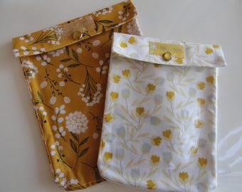 Mustard Yellow Floral Cosmetic Organizer Ouch Pouch 2 Pack Clear Front First Aid Diaper Bag Purse Insert Travel Bags 5x7 & 4x5 Clip Option