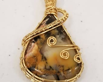 Pilbara Jasper Teardrop Gold Plated Wire Wrapped Pendant