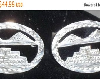 ON SALE Vintage Aztec Sterling Silver 925 Temple of the Warriors Chichen Itza Mexico Cuff Links Cufflinks