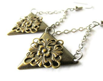 Antique Brass Filigree and Steel Chain Drop Dangle Earrings   Simple Everyday Wear Jewellery   Lightweight Metal Earrings   Mixed Metal