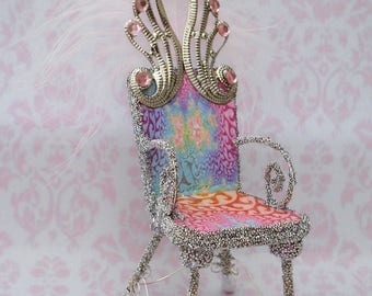 OOAK Miniature Fairy Chair Throne Mixed Media Heirloom - Candy Floss