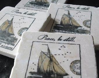 XMASINJULYSale Collage Sailboat at Sea Tile Coasters, Set of 4