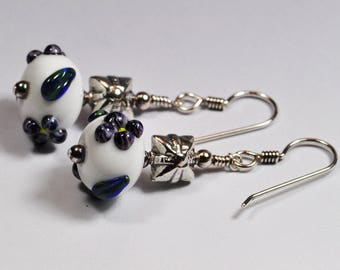 Handmade Lampwork Bead Earrings Purple Flowers on White Beads Sterling Silver Jewelry Shrinking Violet SRA by HallockGlass