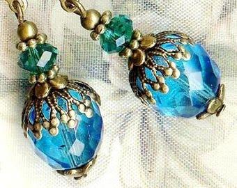 Earrings ❀ TREASURES VICTORIENS blue green AQUA OR617 ❀