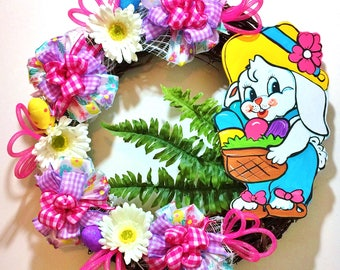 FREE SHIPPING Easter Bunny Basket Eggs Floral - Welcome Door Grapevine Wreath