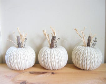 Fall Decor - White Pumpkins Set of Three Thanksgiving Autumn Decor Crocheted Pumpkins Halloween Primitive Country Decor Farmhouse Decor