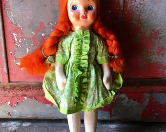 Little Red Haired Girl - 1940's Doll