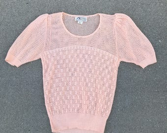 The Vintage Light Pink Knit Short Sleeved Sweater Size Small