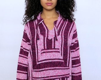 40% OFF The Pink Surfer Striped Hoodie Poncho Medium Large