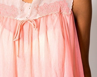 40% OFF The Vintage Pink Babydoll Scalloped Lace Lingerie Slip Dress