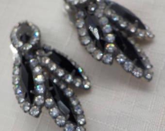 Vintage Faceted Black Gemstones and Rhinestone earrings - Clip Earrings - Elegant - Evening Wear